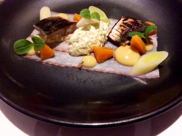 Thinly Sliced Smoked Eel with Grilled Mackerel, Golden Beetroots and Sweet Mustard at Kitchen W8