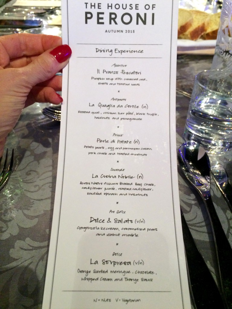 House of Peroni six-course dinner menu