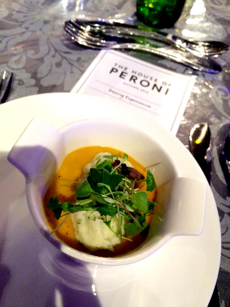 Pumpkin soup with creamed cod at Peroni House Brick Lane