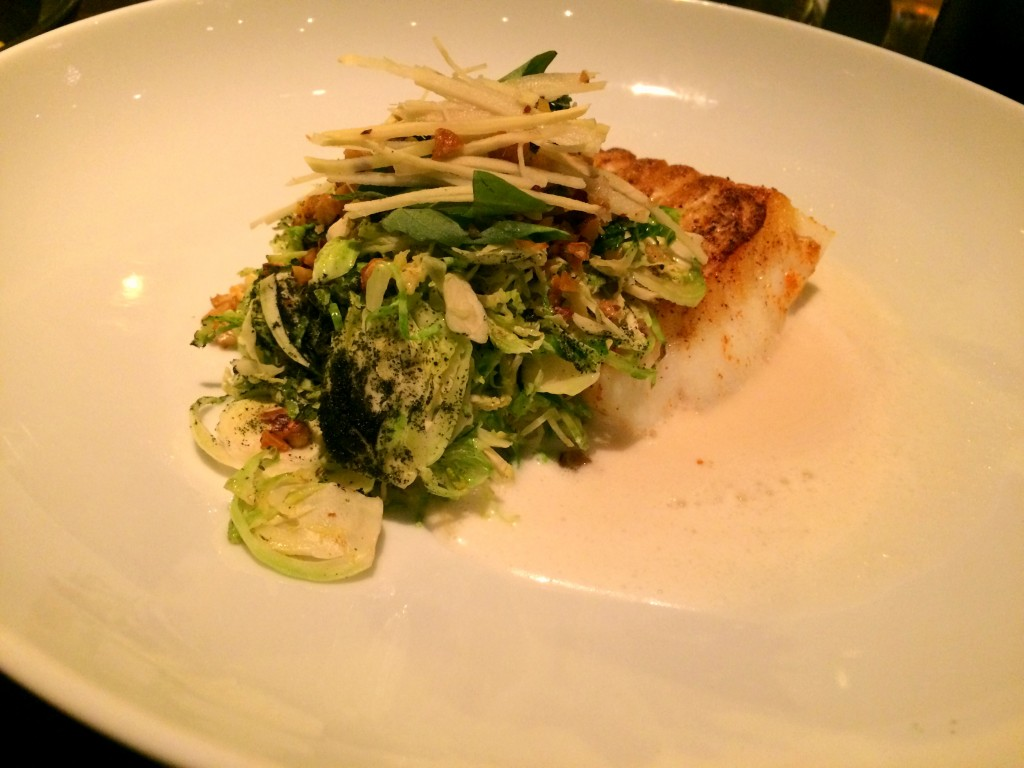 Roasted cod, Brussels sprouts, chestnuts, nori, ginger at Embeya Chicago