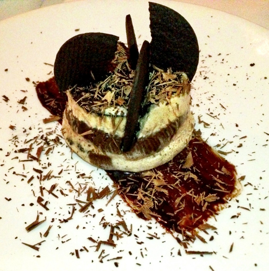 86 proof chocolate icebox cake bourbon, chocolate wafers, espresso Chantilly at The Clam NYC