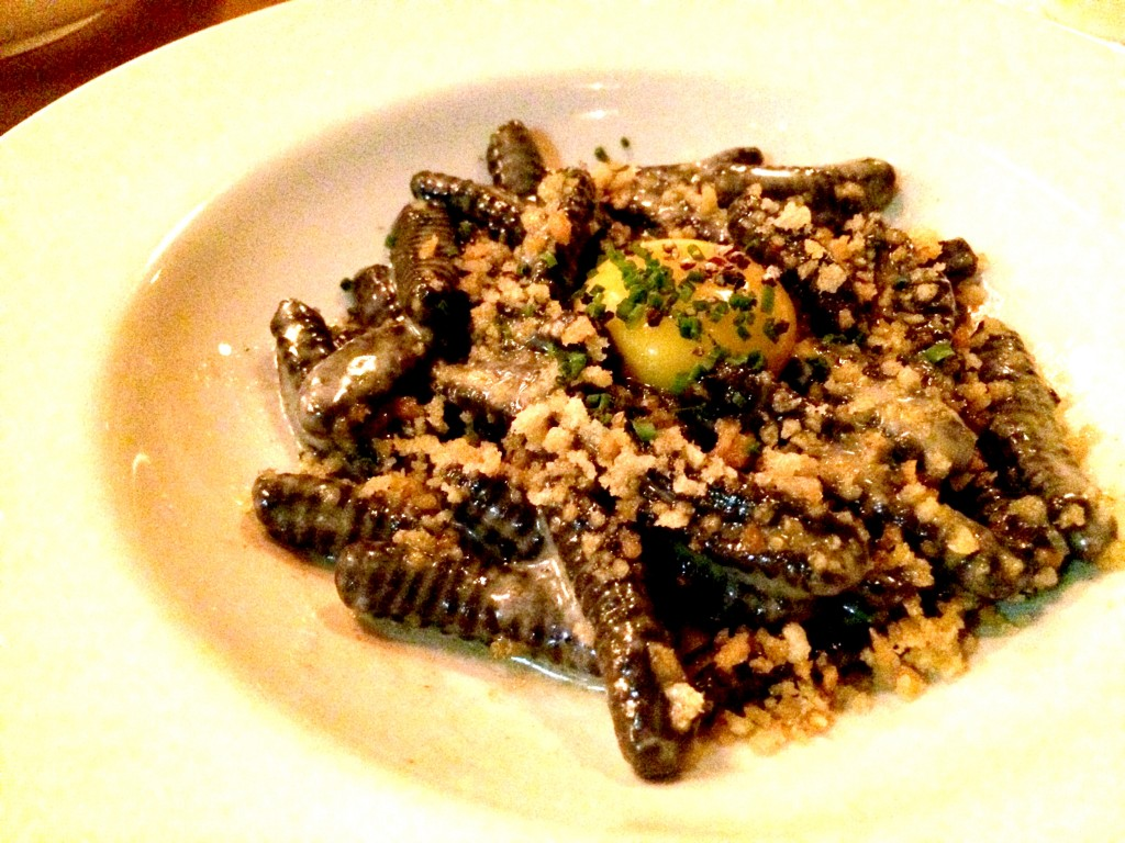 Black pepper cavatelli, whipped lardo, egg yolk, breadcrumbs at Pearl and Ash