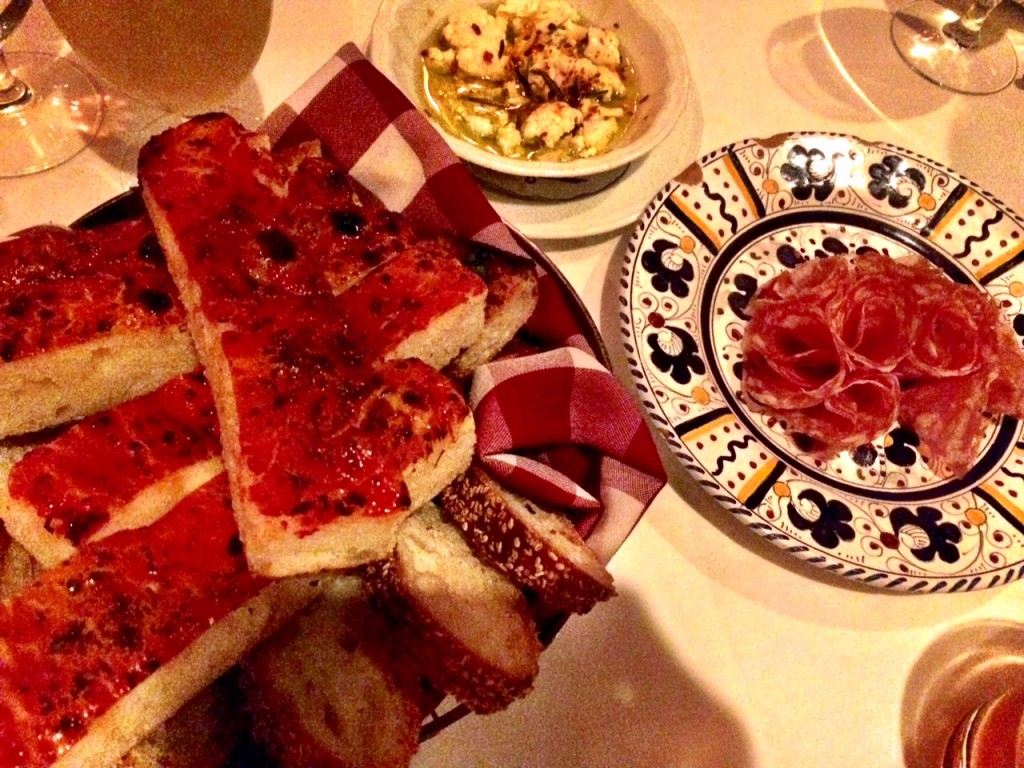 Salami and focaccia to kick-off the feast at Carbone NYC