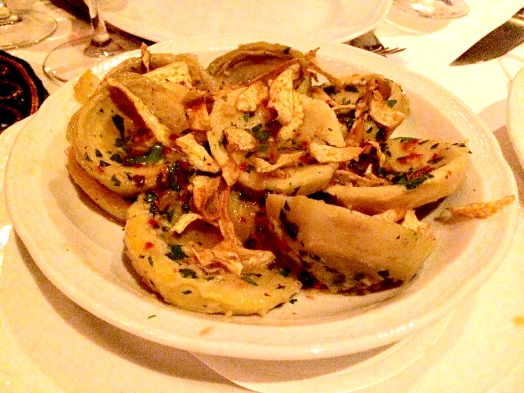 Side of artichoke hearts at Carbone NYC
