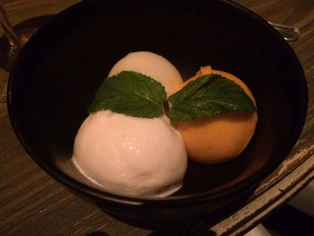 Mango, coconut and lime sorbet at Peyote Restaurant Londo