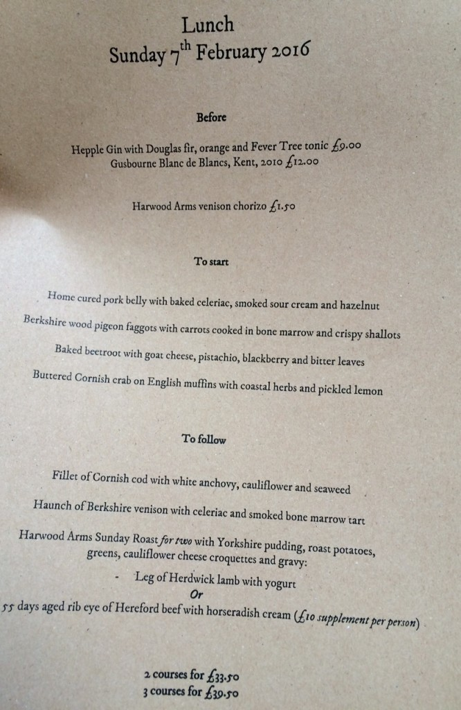 Sunday Roast menu at The Harwood Arms Fulham