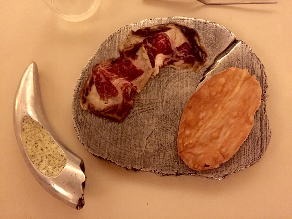 """Cured """"rubia gallega"""" with toasted bread and tea butter: at 50 Days of Adria"""