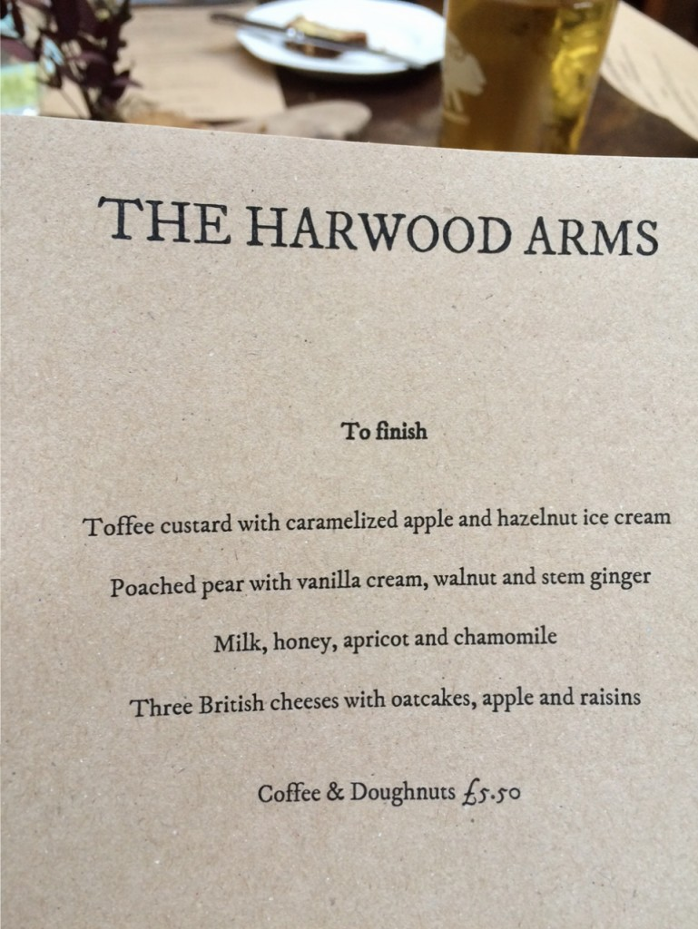 Dessert Menu at The Harwood Arms London Pub