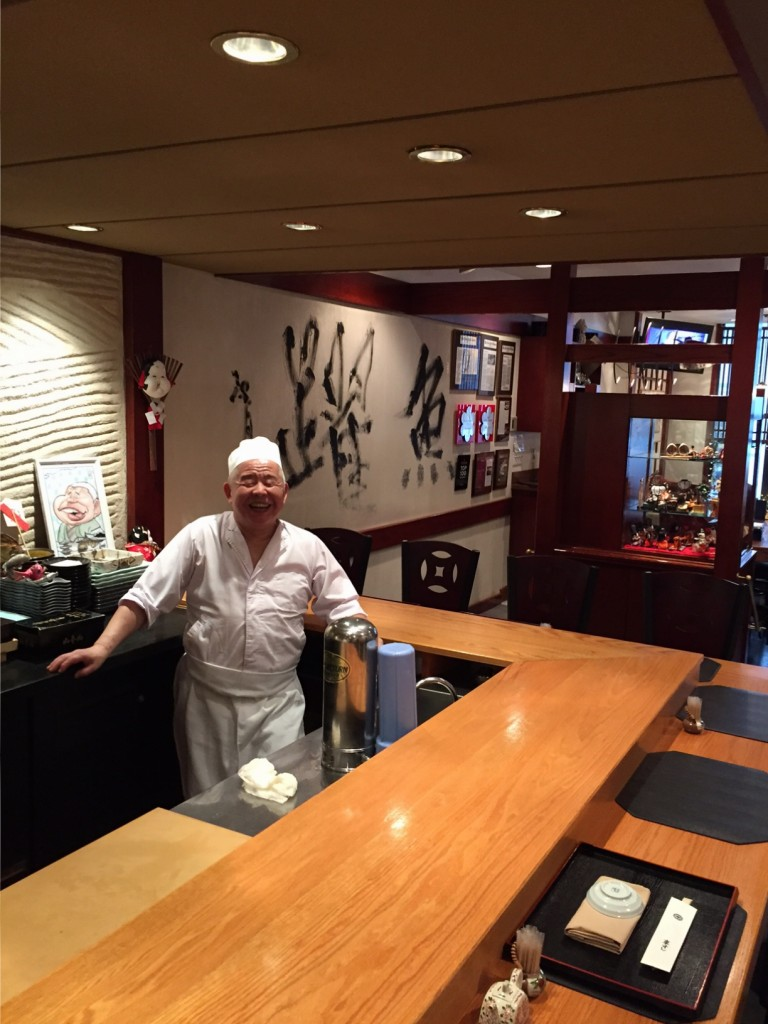 The sushi master at Kurumazushi NYC