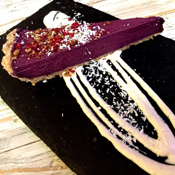 Raw blueberry cheesecake at Nama Foods