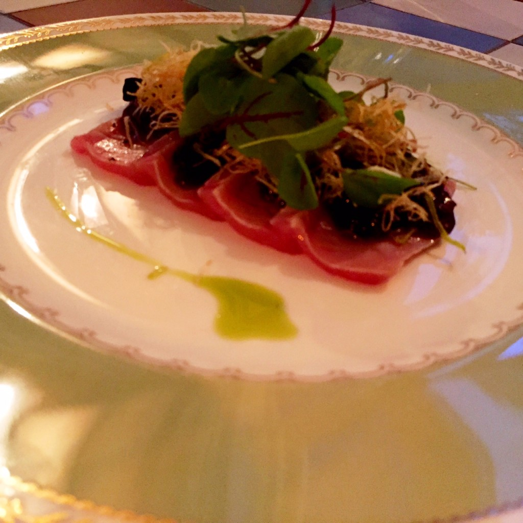 Tuna with truffle infused ponzu jelly at Yashin Ocean House