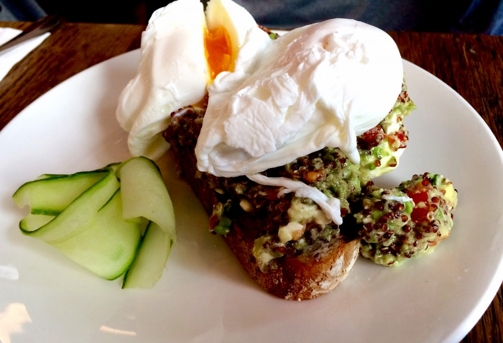 Quinoa and avocado with poached eggs at Manuka Kitchen Fulham