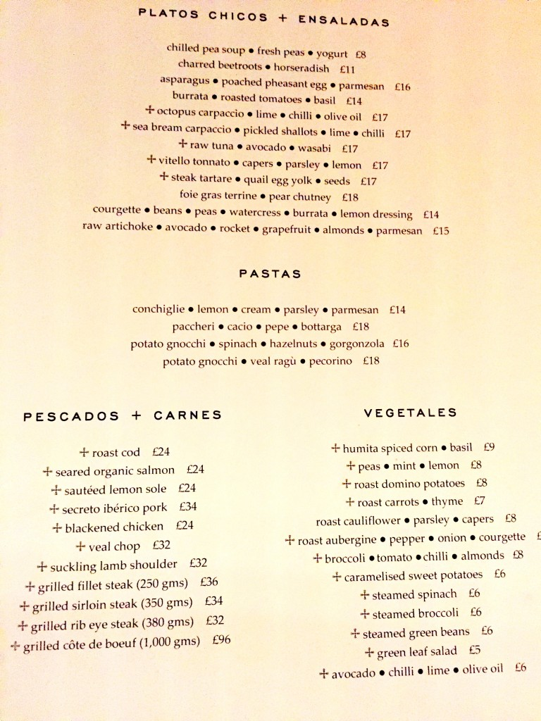 menu at Casa Cruz London