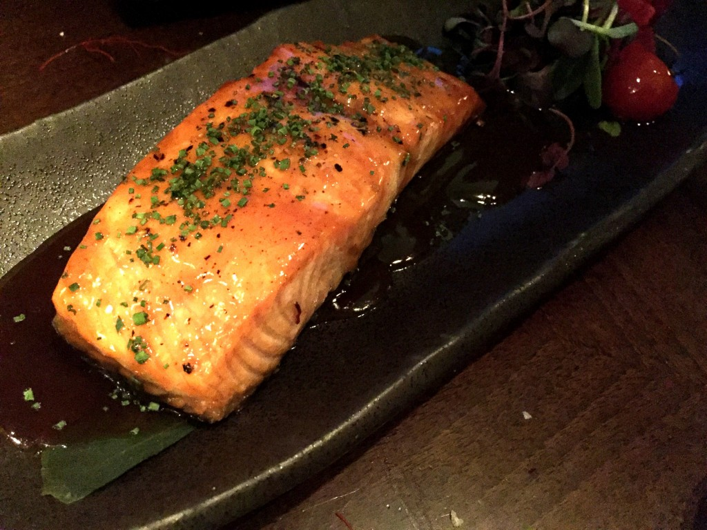 Glazed salmon teriyaki at Koji Restaurant Parsons Green