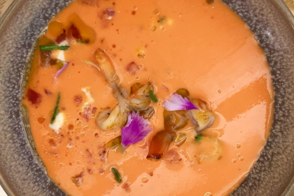 Mango and langoustine gazpacho at Bocam in Figueres