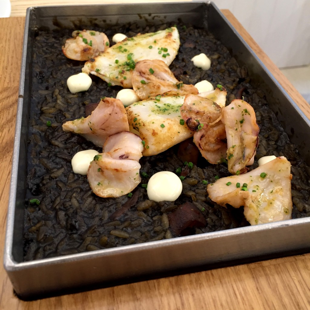 Seafood black rice at Bocam in Figueres