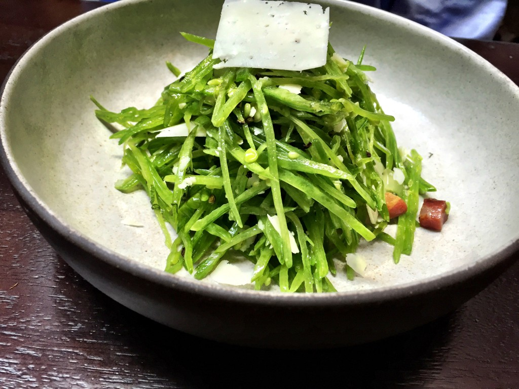 Snow pea salad at The Nomad restaurant NYC