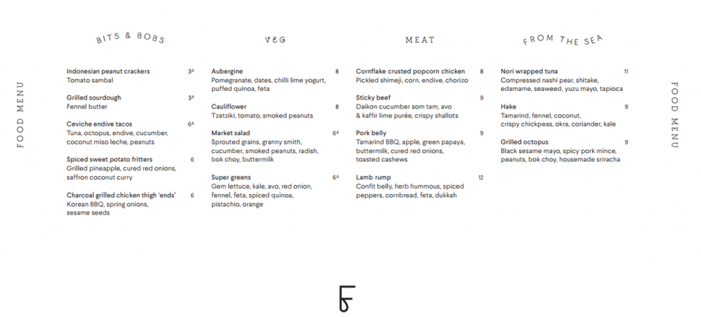 Foley's London Menu