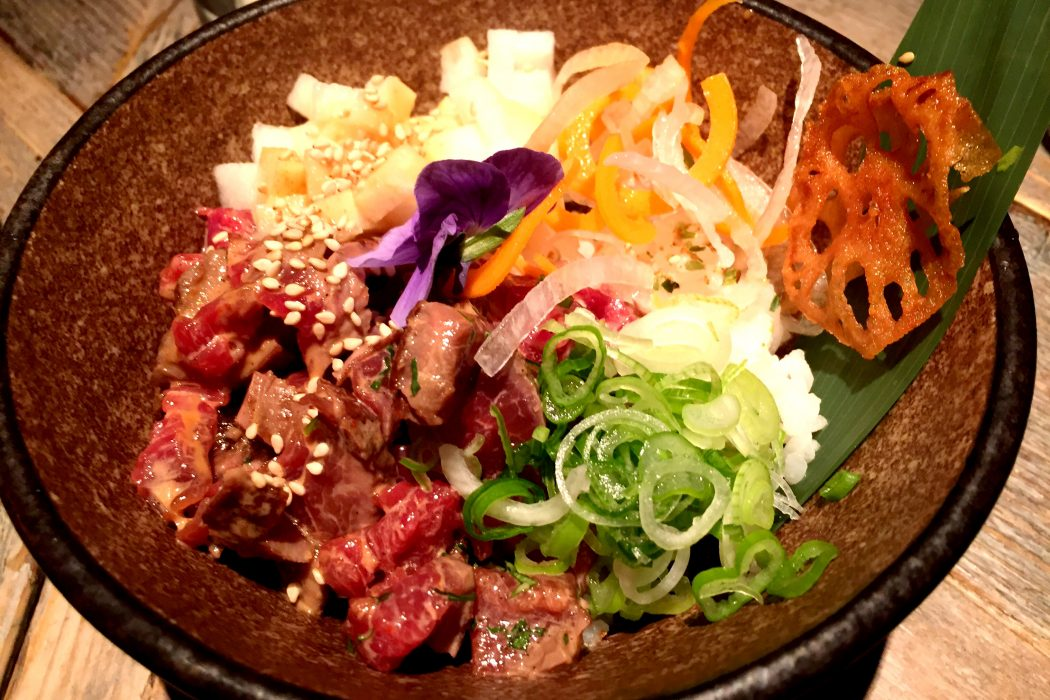 The tasty beef tataki poke at Black Roe Restaurant London