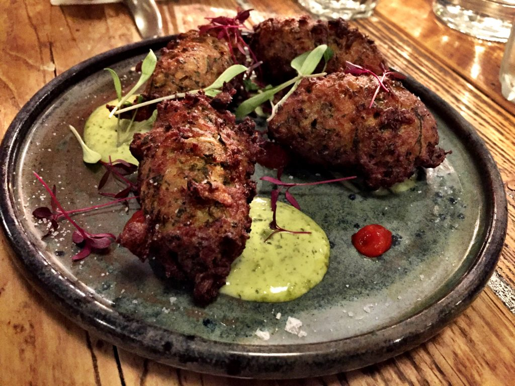 Courgette & cornmeal beignets at Chicama Restaurant London