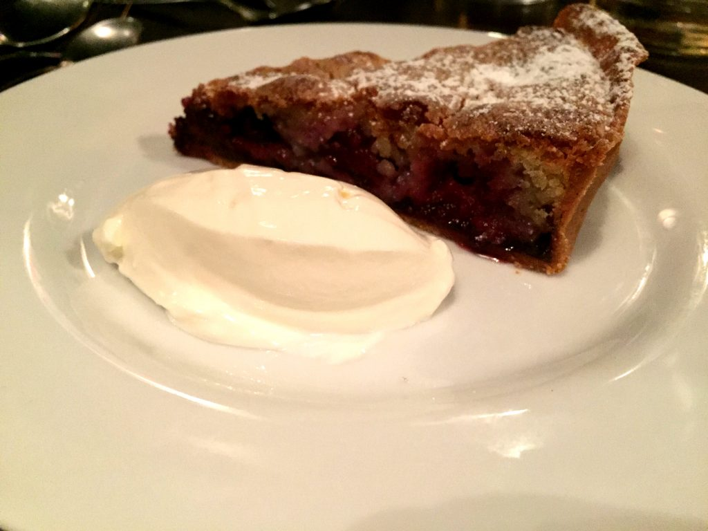 Blackberry and almond tart at Noble Rot Bar London