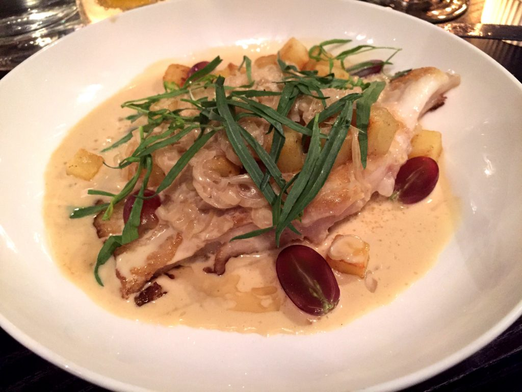 Seared Thornback Ray 'Veronique' at Noble Rot Wine Bar