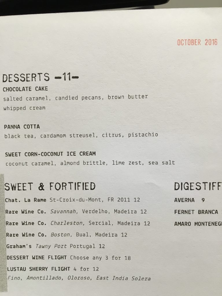 Dessert menu at Norah restaurant Los Angeles