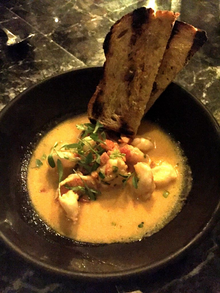 Uni butter poached shrimp at Norah restaurant Los Angeles