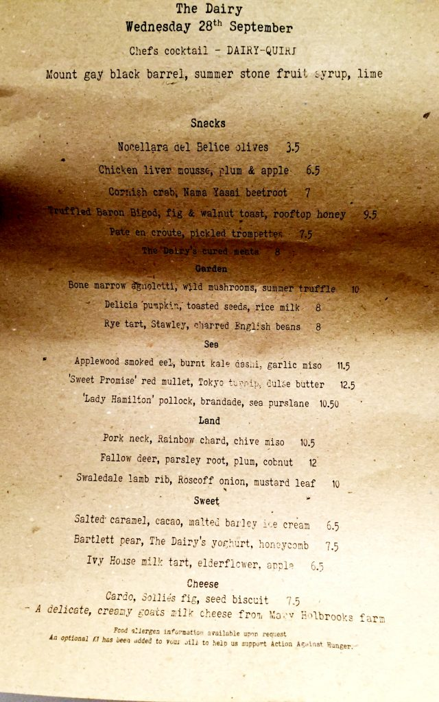 The Dairy Clapham menu changes daily