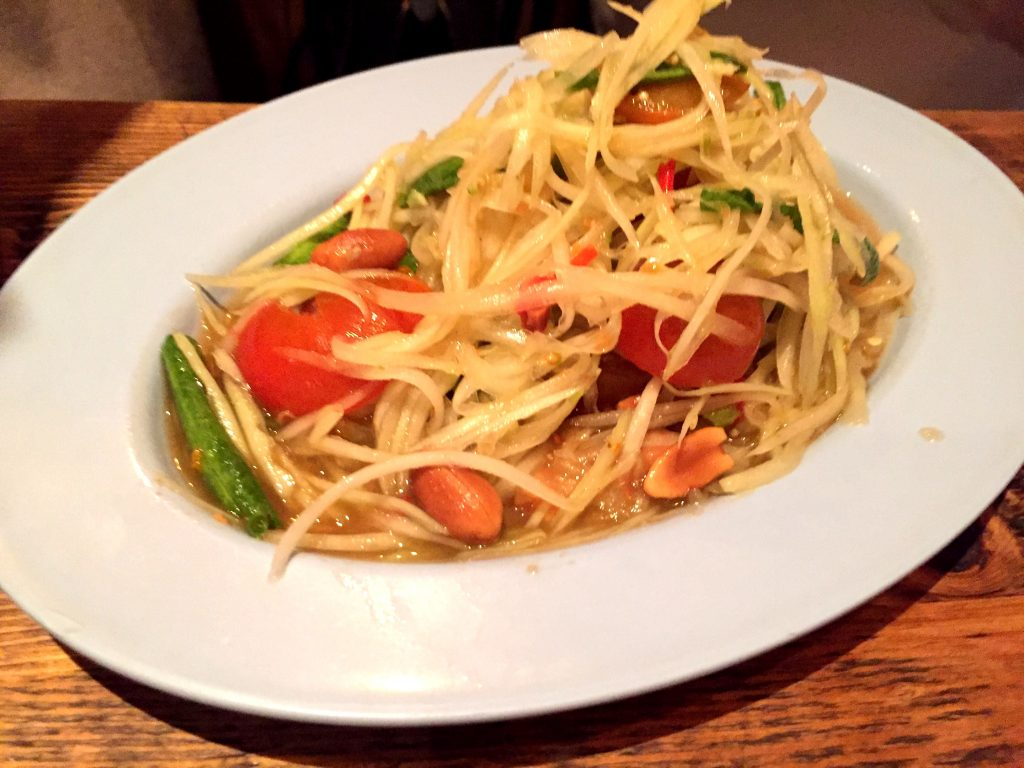 Papaya salad at Som Saa Thai