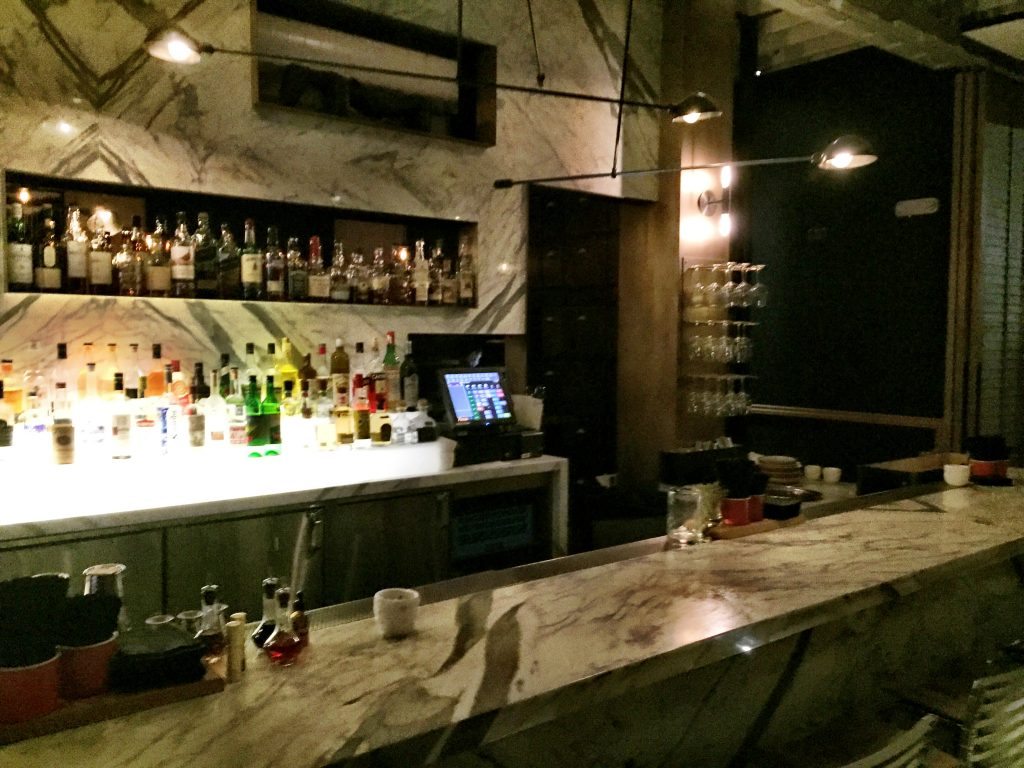 Bar area at Norah restaurant Los Angeles