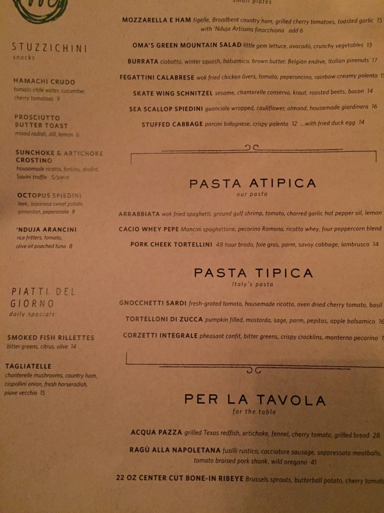Menu at Monteverde Chicago