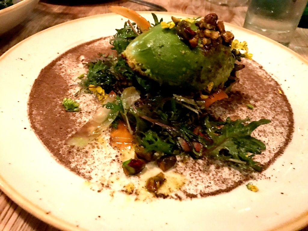 Charred avocado salad at Kali Restaurant Los Angeles