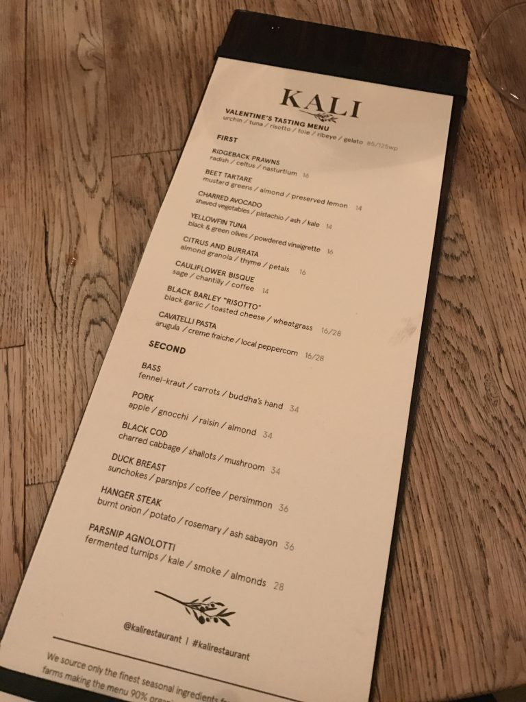 Menu at Kali Restaurant Los Angeles