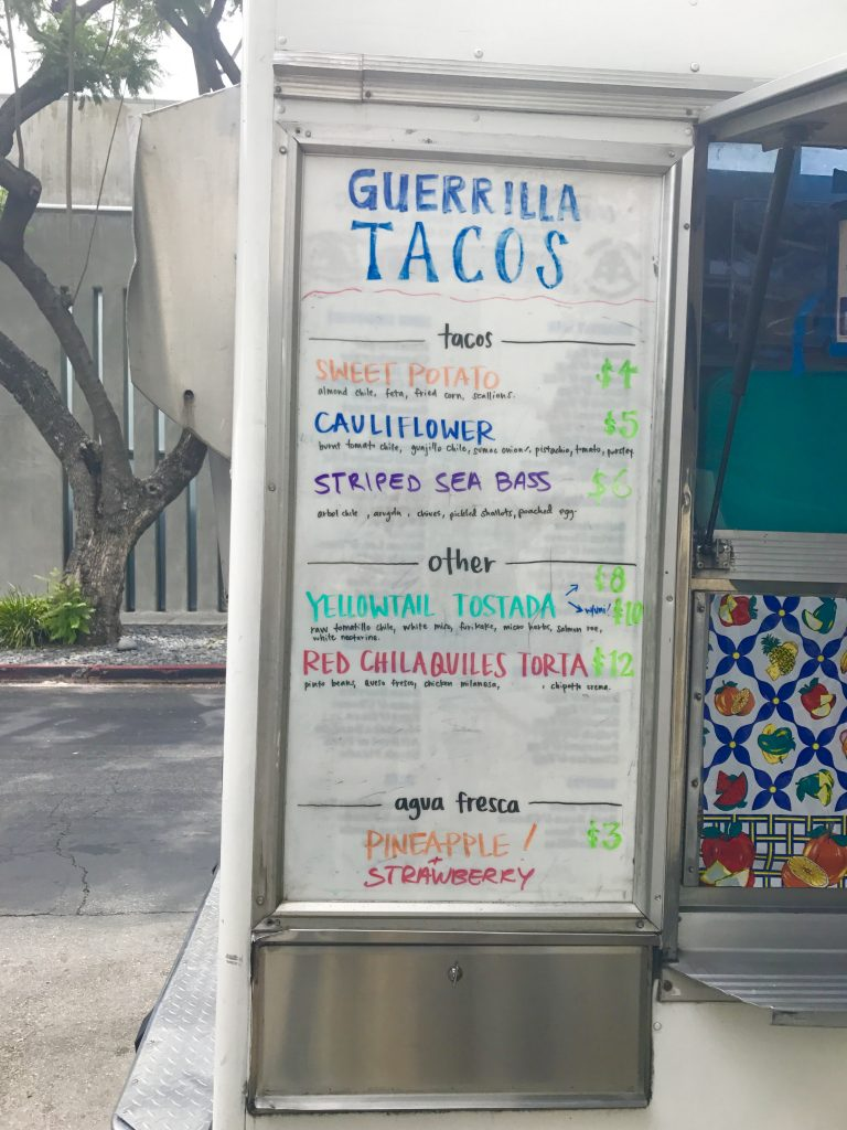 Menu at Guerrilla Tacos LA