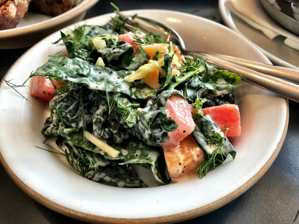 Tasty kale and watermelon salad at Loring Place NYC