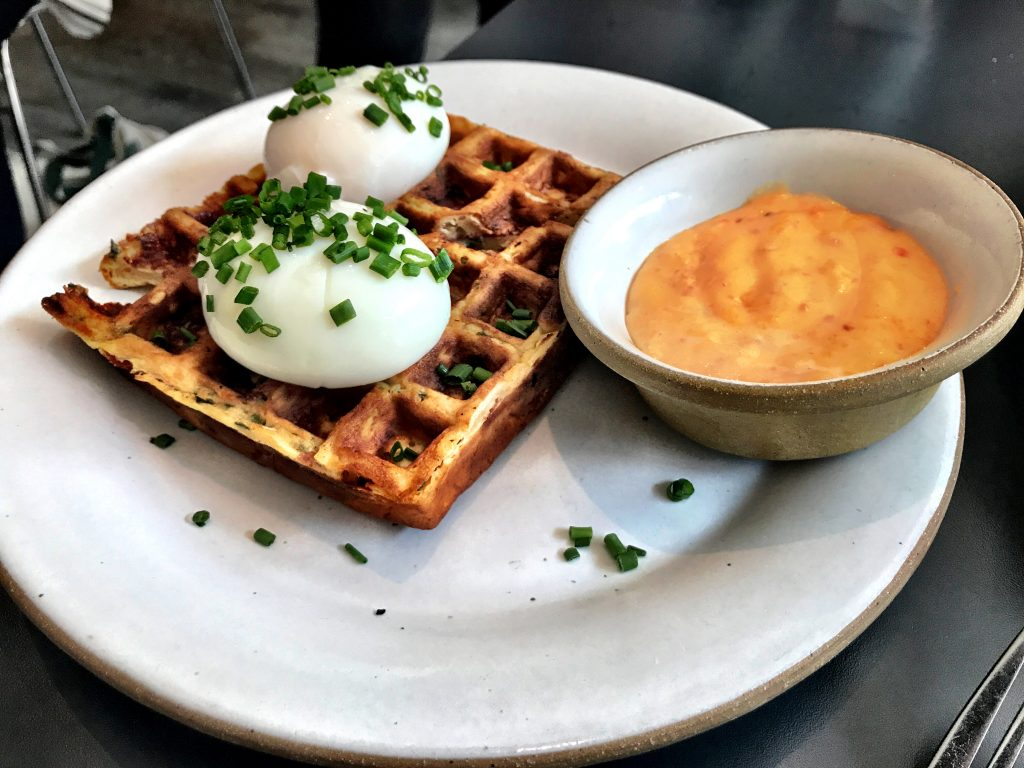 Waffle with poached egg at Loring Place