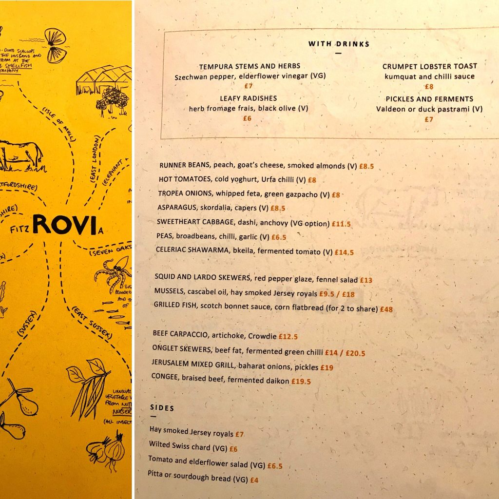 Menu at Ottolenghi's new Rovi London