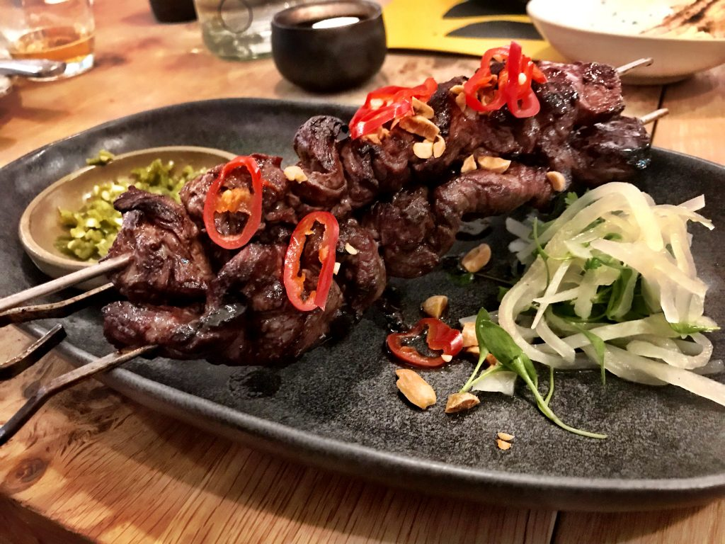 Onglet skewers with beef fat at Rovi London
