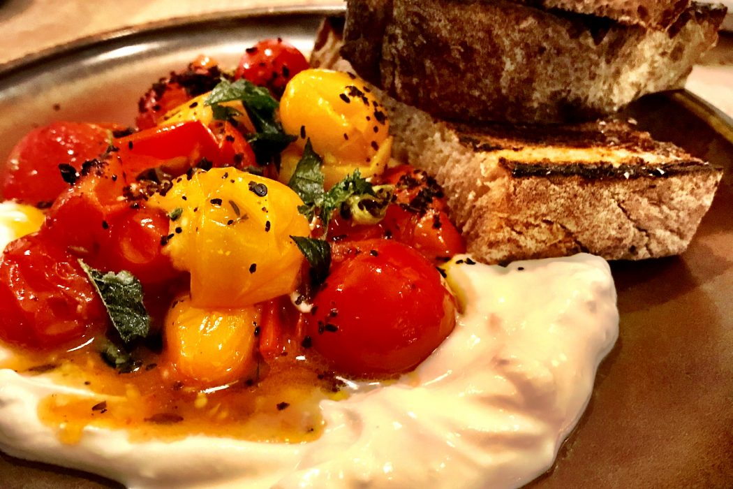 Warm tomatoes with cold yogurt at Rovi London