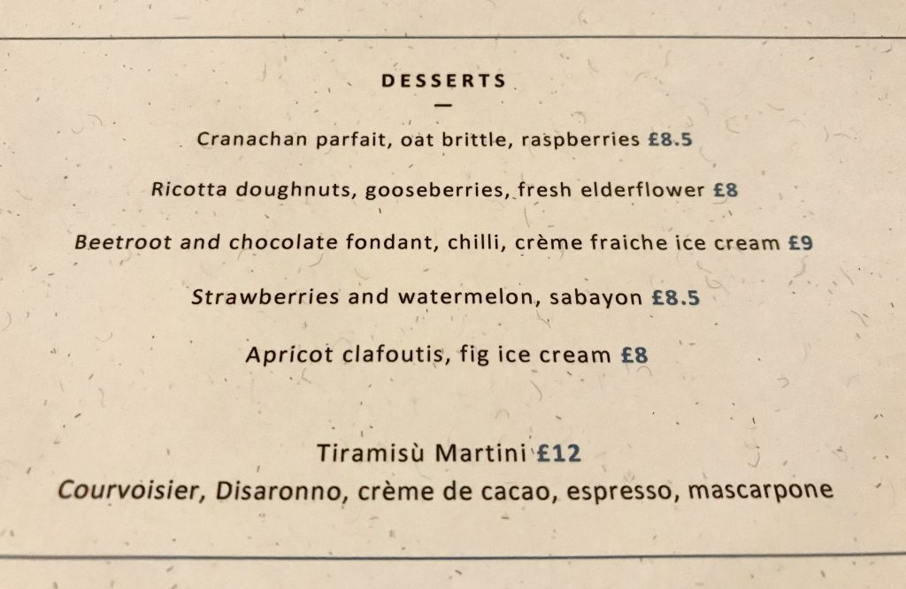 Dessert menu at Rovi London